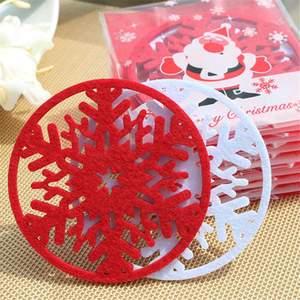 10pcs set christmas snowflakes coaster 5fd82ef18c004 - 10pcs/set  Christmas Snowflakes  Coaster